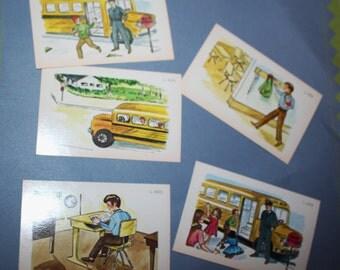 Vintage Flashcards -School Ephemera - School Days and Children Set of 5 - Scrapbook Ephemera