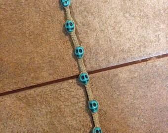 Turquoise Skull Hemp Bracelet