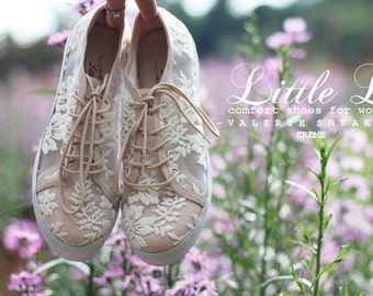 White Lace Sneaker - Shoes with Cream list Custom Five Colors