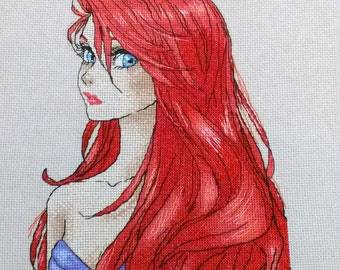 Completed Cross Stitch Ariel