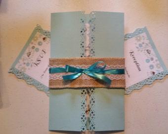 Beautiful blue rustic wedding invitation suite!