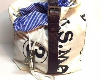Upcycled Repurposed mail carrier bag