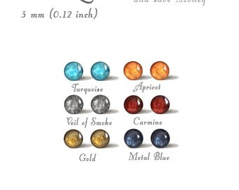 Up to 6 pairs 3 mm Earrings Stud Mini Tiny Piercing Choose Your Colors Stainless Steel Gold Plated Posts High Quality Epoxy Resin Moon Line