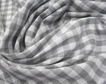 cotton fabric woven check grey white 1cm France