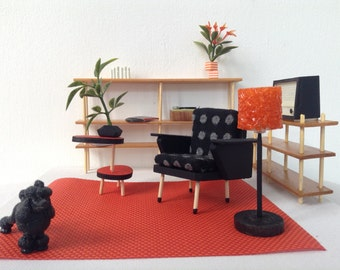 dollhouse miniature furniture livingroom from the sixties scale 1:12