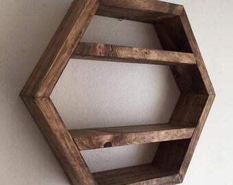 hexagon shelf, honeycomb shelf, hexagonal shelf, rustic shelf, wood shelf, geometric, crystal shelf, display shelf, hexagon, triangle shelf