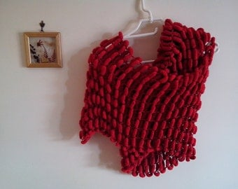 Scarf knit Woman scarf Stole large scarf handmade knitting red pom poms, winter,big scarf