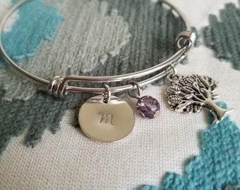 Tree of Life Bracelet, Family tree bracelet, Customized Bangle Bracelet, Expandable Bangle Bracelet, Personalized Charm Bracelet CB123002