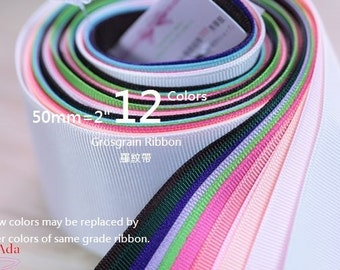 "C50050-50mm(2"")High Density Wide Grosgrain Ribbon.Total 12 Meter.(130g)"
