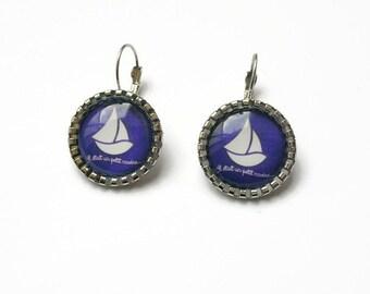 Orelles cabochon glass metal Silver earrings