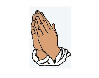 Praying hands religion Applique 4 sizes Embroidery Design   Download Machine