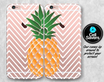 Pineapple Clear iPhone 7 Plus iPhone 6s Pair Case iPhone 6 iPhone 6 Plus iPhone 6s + iPhone 5c iPhone 5 SE Clear Case Chevron Fruit Summer