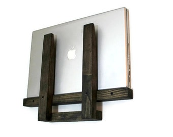 Laptop Stand, Laptop Holder, Macbook stand, Charging station, Laptop Docking Station, Wall shelf station, Laptop stand, Wooden laptop holder