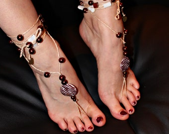 "Barefoot sandals ""Tiger on the catwalk"""