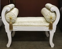 French Cleopatra III White Accent Bench W 2 Pillows