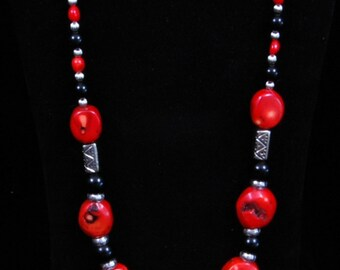 Red Coral and Black Onyx Beaded Necklace
