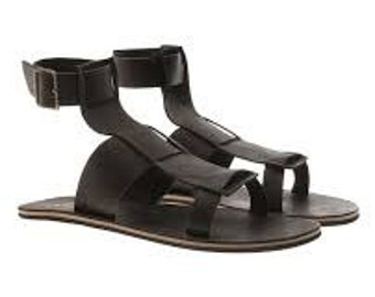 3 straps men leather gladiator sandals