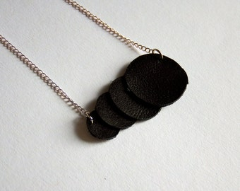leather necklace, black, geometrical, circles, geometrical jewelry, geometrical necklace, necklace with circles, leather jewelry