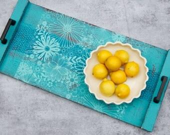 Aqua wood tray with flower design
