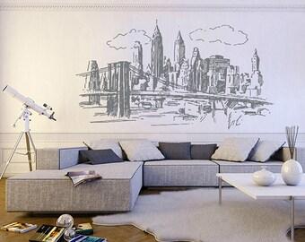kik1161 Wall Decal Sticker new york city american bedroom living room children