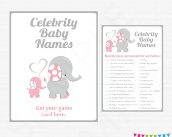 Elephant Baby Shower Games, Celebrity Name Game, Pink and Gray, Instant Download, Printable, Girl Baby Shower Game + Sign, EL0005-LP