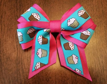 """5""""  Pink and Blue Cupcake Hair Bow - Woven / Jacquard Ribbon"""