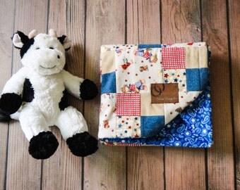 Cowboy Blue Paisley Baby Minky Blanket