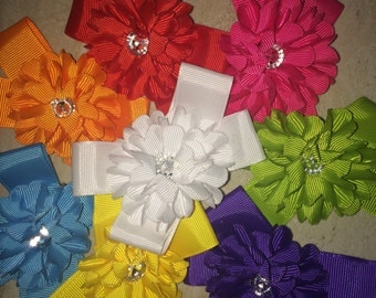Boutique rhinestone flower centered bow