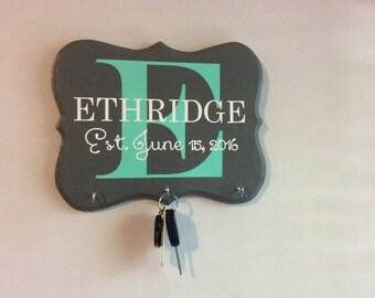 key holder, Wedding Gift,  Anniversary Gift, House warming gift, Hand painted, monogram Home Decor