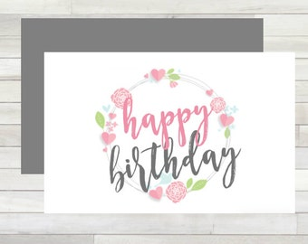 Greeting Card Happy Birthday Wreath Printable Instant Download Last Minute DIY