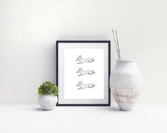 Dachshund Dog Puppy Art Illustrative Print // Digital Download // Illustration