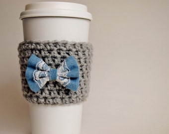 Gray Cup Cozy with Blue Bow