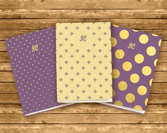 Personalised A6 Exercise Books, set of 3 Notes, Initials