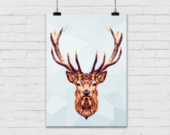 Art print / polygon / deer