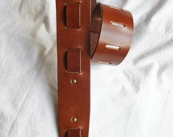 """Handmade leather guitar strap made in France Urban Cam """" The 605 mahogany"""""""