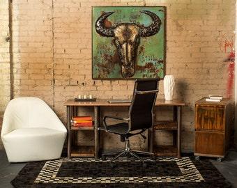 Rustic Writing Desk/Double Shelf