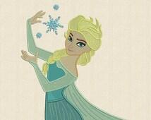 Elsa Frozen Fill Machine Embroidery Design 3 Sizes