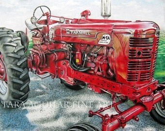 Colored Pencil Drawing Print, Colored Pencil Art Print, Tractor Art, Red Tractor Drawing, Farmall Tractor Drawing, Farm Art Print