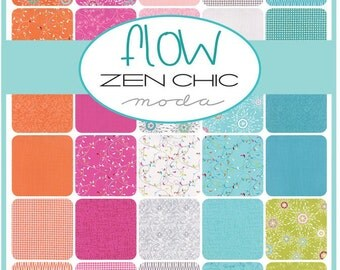 Flow - Moda Precut by Zen Chic - Layer Cake bright colourful quilting cotton squares blue green cotton fabric flowers