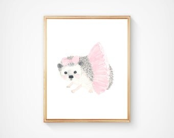 Watercolor hedgehog no 4 Print - Nursery Art - Pink and Gray - Nursery Decor - Kids Wall Art, hedgehog painting, pastel color nursery