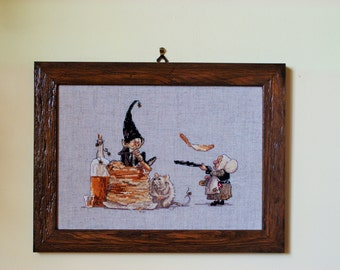 Cross stitch Embroidery handmade pancakes framed