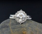 Forever One Cushion Halo Diamond Engagement Ring Wedding Set- Vintage Flower Halo - Scallop Halo