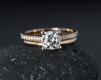 Rose Gold Forever One Moissanite Ring - Engagement Ring & Wedding Band Set - Comfort Fit Band