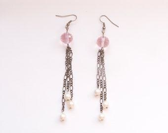 Pink and pearls - long earrings