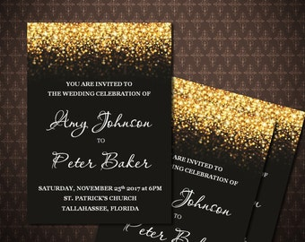 Gold  Glitter Wedding Invitation, Black and Gold Printable Wedding Invitation, Digital Invitation, code-24