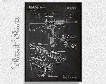 AR-15 Rifle Patent Print, Gun Print, Gun Poster, Gun Art, Firearm, Military Prints, Military Wall Art, Hunting poster, Military Art