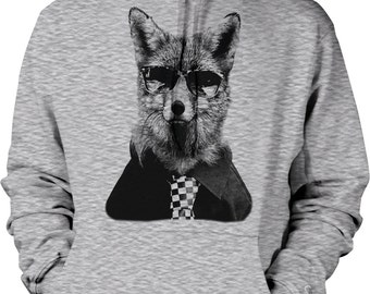 Sly Fox Wearing Sunglasses and a Necktie Hooded Sweatshirt, NOFO_00760