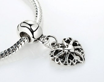 High quality Silver plated heart charm