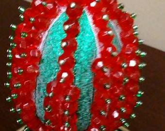 Christmas Ornament - Egg - Red & Green
