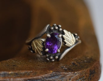 Vintage Oval Purple Stone Sterling Silver Gold Plated Leaf Ring, US Size 6.0, Used